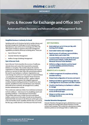Sync and Recover for Exchange and Office 365