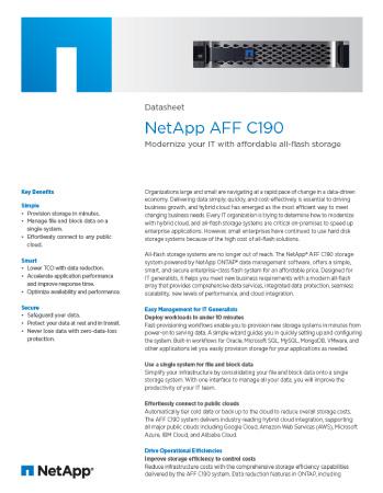 NetApp AFF C190 Datasheet Thumbnail