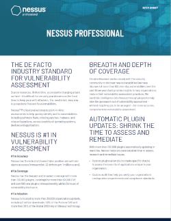 Nessus Professional Data Sheet Thumbnail