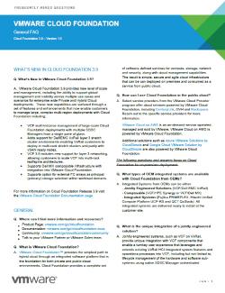 VMware Cloud Foundation General FAQ  Thumbnail