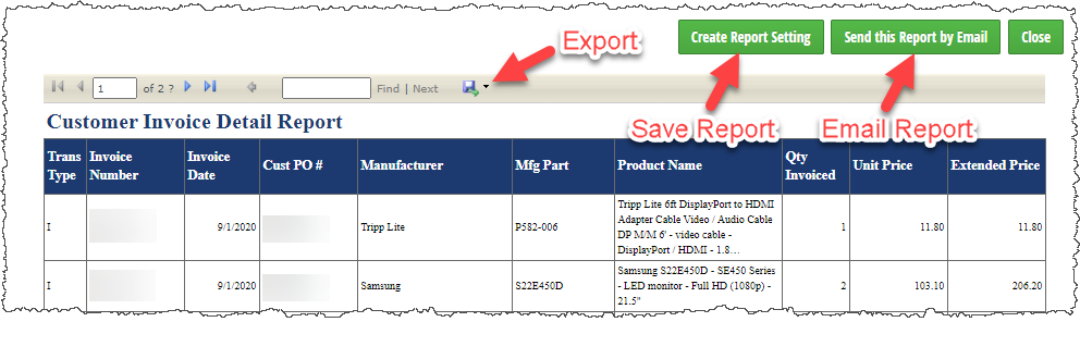 Export Option Save Report Button Email Report Button