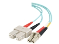 C2G 10m LC-SC 10Gb 50/125 OM3 Duplex Multimode Fiber Optic Cable (TAA Compliant) - Aqua - patch cable - TAA Compliant -…