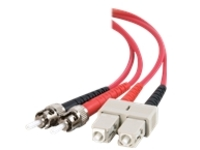 C2G SC-ST 62.5/125 OM1 Duplex Multimode Fiber Optic Cable (Plenum-Rated) - patch cable - 3 m - red
