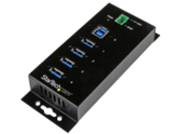 StarTech.com 4 Port Industrial USB 3.0 Hub w/ Surge Protection - Mountable - hub - 4 ports