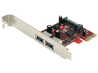 StarTech.com 2 Port SuperSpeed USB 3.0 PCI Express Card with SATA Power - USB adapter - PCIe - USB 3.0 x 2