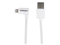 StarTech.com Angled Lightning to USB Cable - 2m (6ft) - White - Apple MFi Certified (USBLT2MWR) - Lightning cable - Lig…