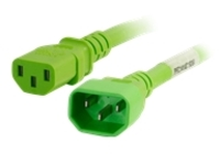C2G 3ft 14AWG Power Cord (IEC320C14 to IEC320C13) - Green - power cable - TAA Compliant - 91.4 cm