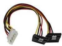 StarTech.com 12in LP4 to 2x Right Angle Latching SATA Power Y Cable Splitter - 4 Pin LP4 to Dual 90 Degree Latching SAT…