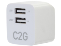 C2G 2-Port USB Wall Charger - AC to USB Adapter - 5V 2.1A Output power adapter - 2 x USB