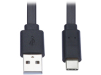Tripp Lite USB-A to USB C Cable Flat USB 2.0 M/M Thunderbolt 3 Black 6ft - USB-C cable - 1.8 m