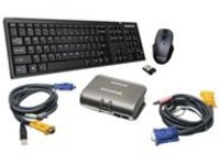 IOGEAR GCS1732-KM1 - KVM / audio / USB switch - 2 ports - with IOGEAR Wireless Keyboard and Mouse kit