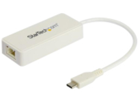 StarTech.com USB 3.1 USB-C Ethernet Adapter with Extra USB Port - White - network adapter