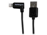 StarTech.com 1m 3ft Angled Black Apple 8-pin Lightning to USB Cable for iPhone iPod iPad - Angled Lightning Cable - Cha…